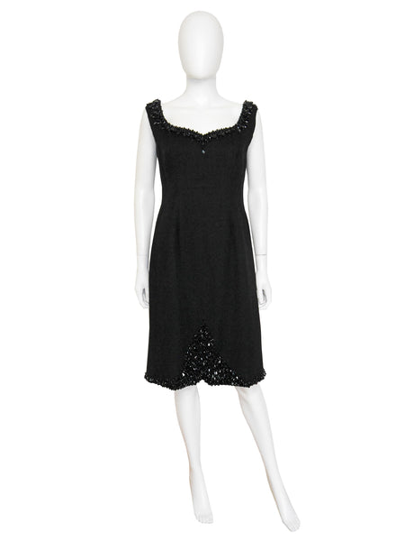 JEAN-LOUIS SCHERRER 1960s Little Black Cocktail Dress M