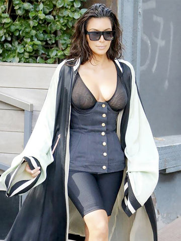 Sold - JEAN PAUL GAULTIER Vintage Lace-Up Denim Corset Top As Worn By Kim Kardashian Size S-M