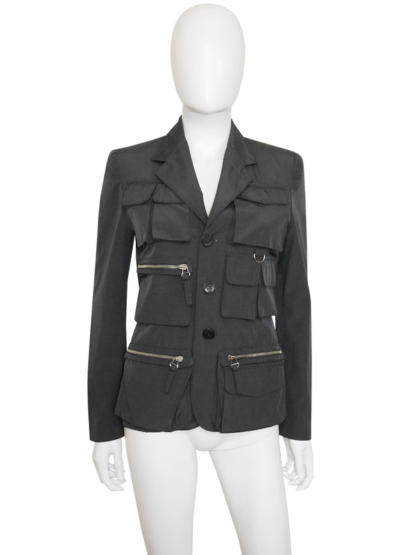 Sold - JEAN PAUL GAULTIER S/S 1996 Grey Utilitarian Military Jacket Size XS