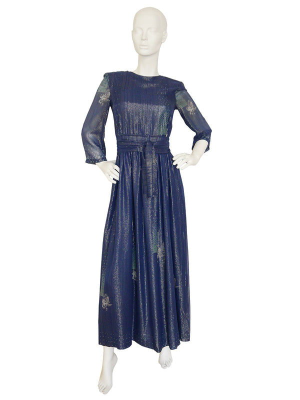 JEAN VARON 1970s Vintage Silk Chiffon Maxi Evening Dress Size S
