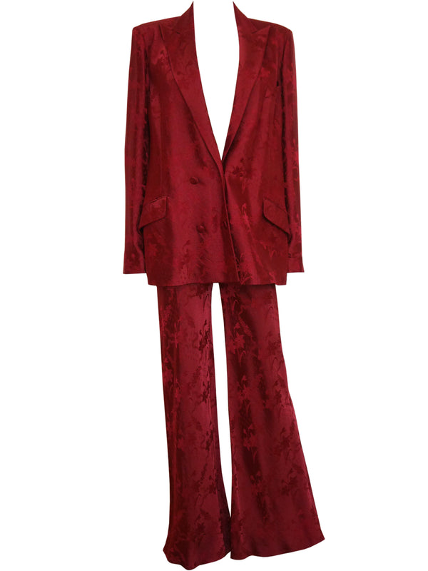Sold - JOHN GALLIANO Paris Spring 1998 Vintage Oxblood Red Jacquard Evening Suit Size M