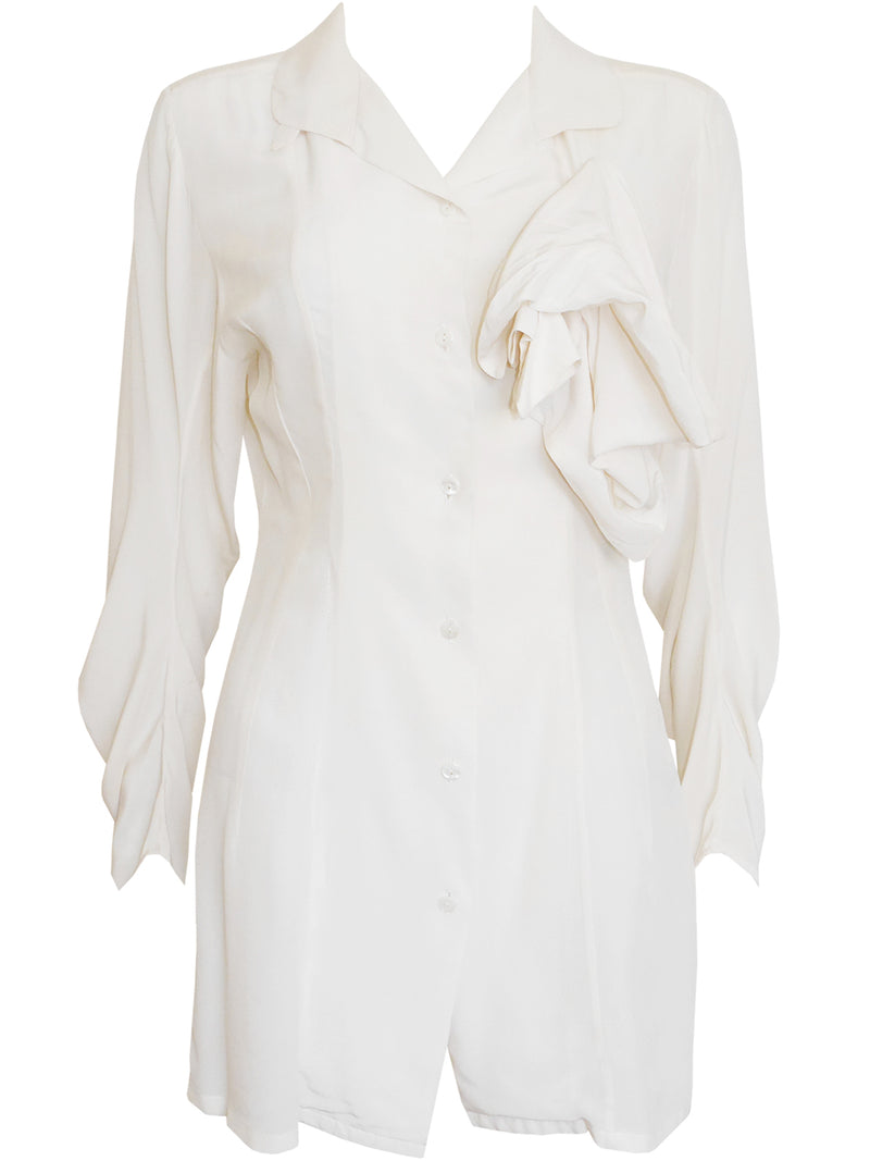 Sold - JOHN GALLIANO London c. 1987 Vintage Circle Cut Silk Blouse Size S
