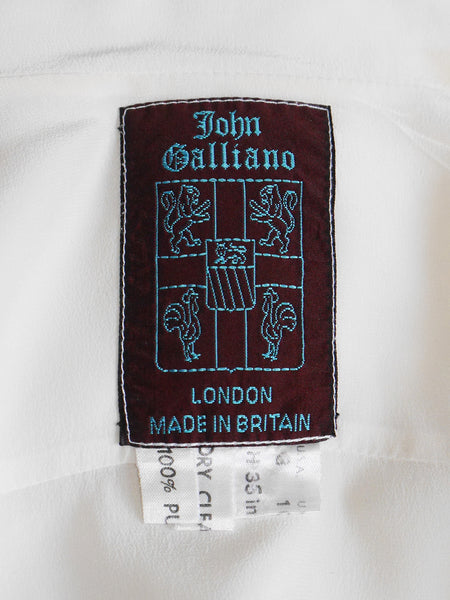 JOHN GALLIANO London c. 1987 Vintage Circle Cut Silk Blouse Size S