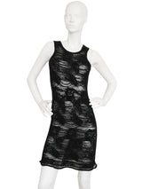 JOHN GALLIANO London c. 1989 Vintage Distressed Chenille Knit Dress Size S-M