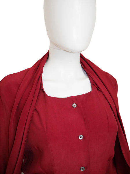 JOHN GALLIANO London 1980s Vintage Oxblood Red Blouse Size XS