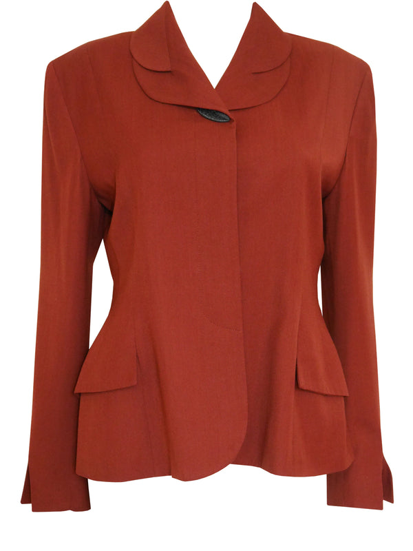 Sold - JOHN GALLIANO London 1980s Vintage Rust Red Jacket Size M