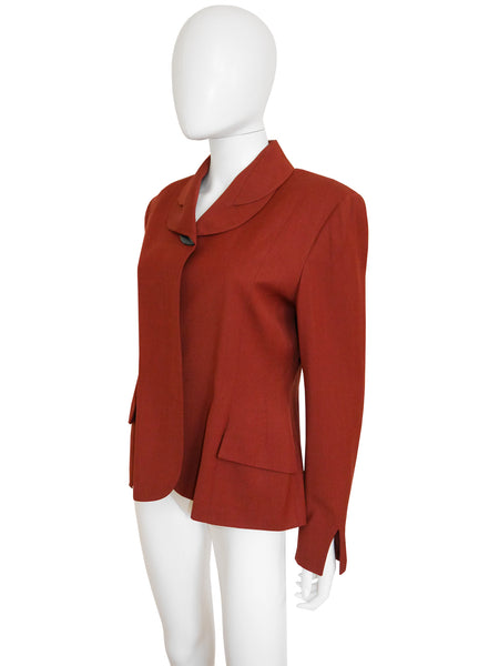 JOHN GALLIANO London 1980s Vintage Rust Red Jacket Size M