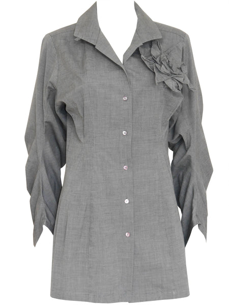 JOHN GALLIANO London c. 1987 Vintage Circle Cut Cotton Blouse Size M