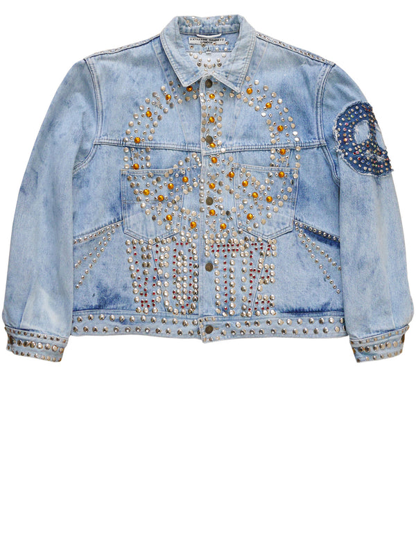 "Sold - KATHARINE HAMNETT 1986 BLITZ Designer Denim Jacket Project ""VOTE"""