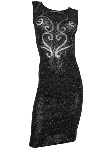 KRIZIA 1990s Vintage Beaded Evening Dress LBD Size M
