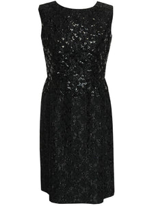 LANVIN 1960s Vintage Sequined LBD Little Black Dress S