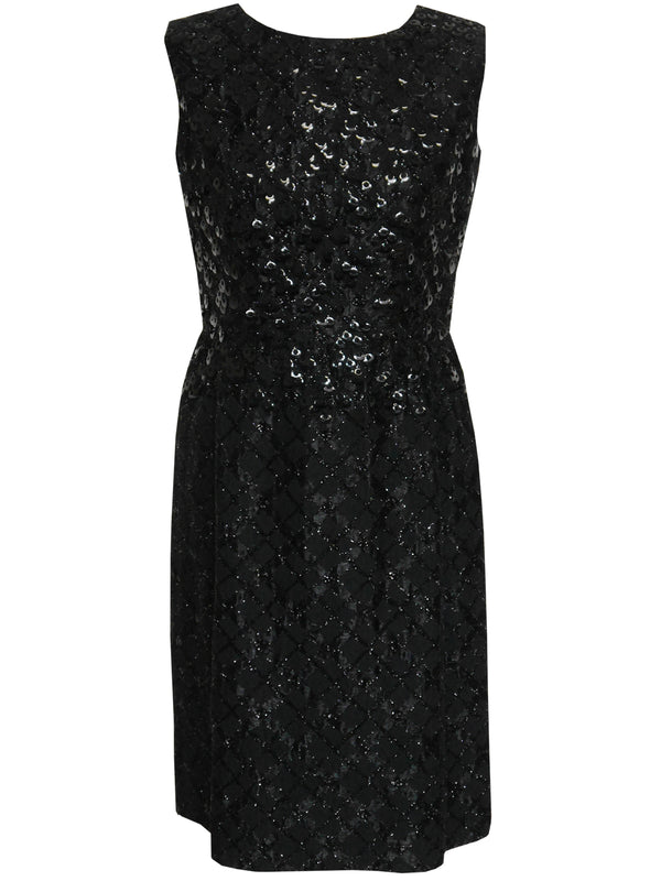 Sold - LANVIN 1960s Vintage Sequined LBD Little Black Dress Size S