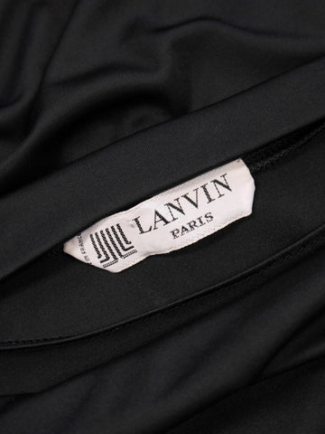 LANVIN 1970s Vintage Black Maxi Evening Gown Size S-M