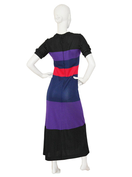 LANVIN 1970s Vintage Colorblock Knitted Maxi Dress Size S