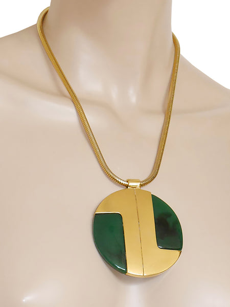 LANVIN 1970s Vintage Modernist Necklace w/ Large Resin Disc Pendant