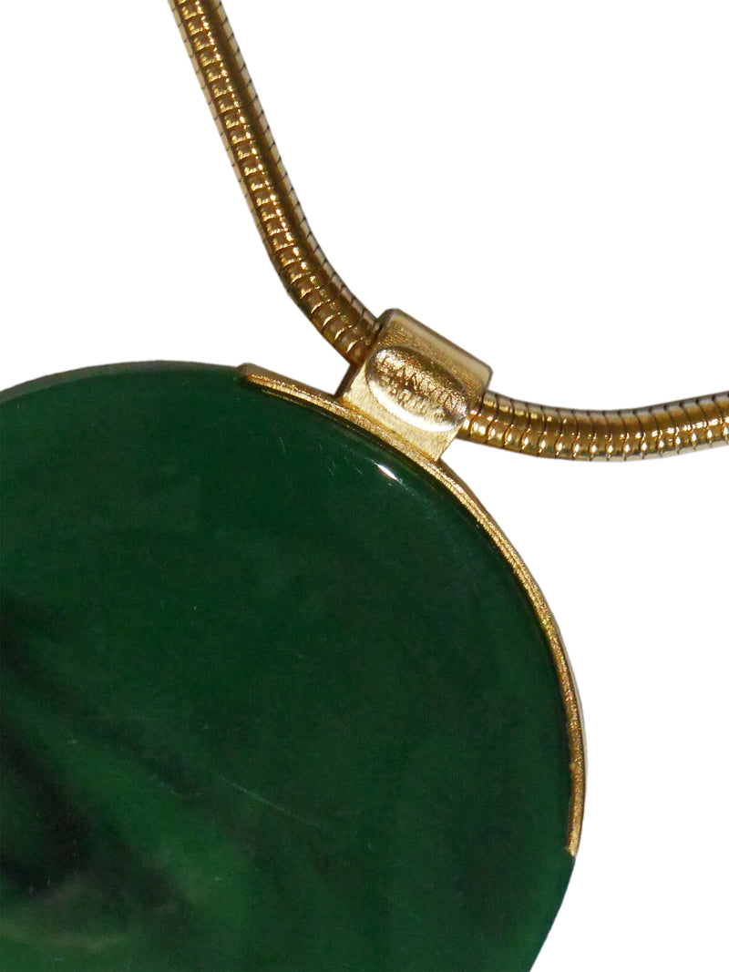 Sold - LANVIN 1970s Vintage Modernist Necklace w/ Large Resin Disc Pendant