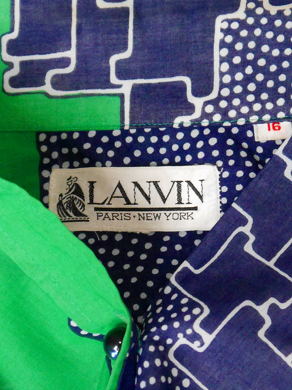 Sold - LANVIN 1970s Vintage Shirt Dress Sun Dress Size S-M