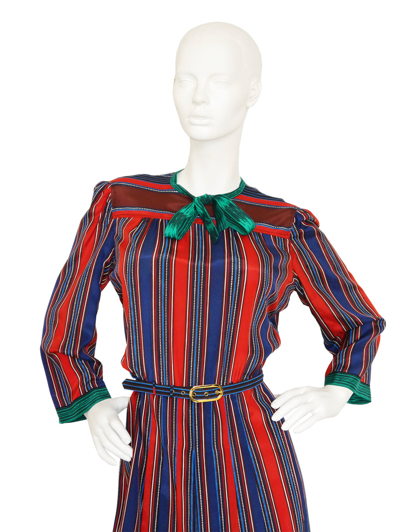 Sold - LANVIN 1970s Vintage Printed Silk Dress Size M