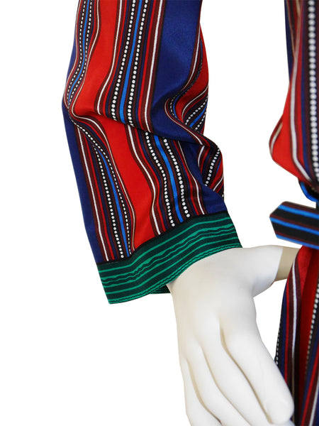 LANVIN 1970s Vintage Printed Silk Dress Size M