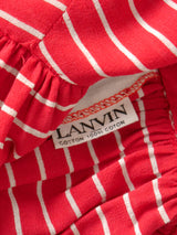 LANVIN 1970s Vintage Numbered Red Striped Cotton Summer Maxi Dress Size XS