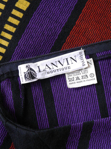 LANVIN 1970s Vintage Striped Jersey Knit Dress w/ Belt Size M