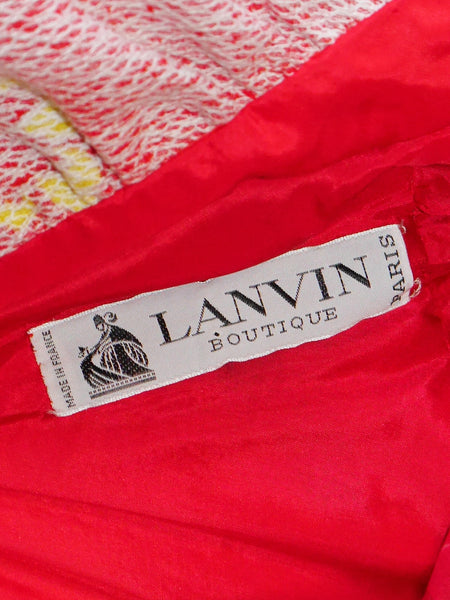 LANVIN c. 1972 Vintage Documented Red Halterneck Maxi Evening Dress Size M