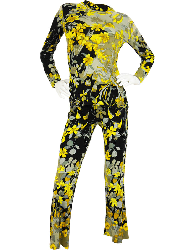 Sold - LEONARD 1960s Vintage Flower Power Silk Suit Size S