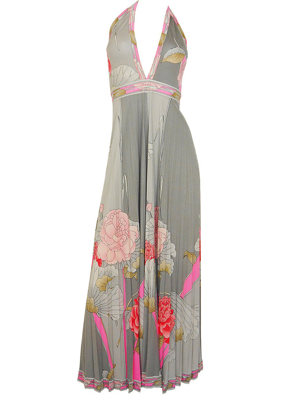 Sold - LEONARD 1970s Vintage Silk Maxi Evening Gown Size S