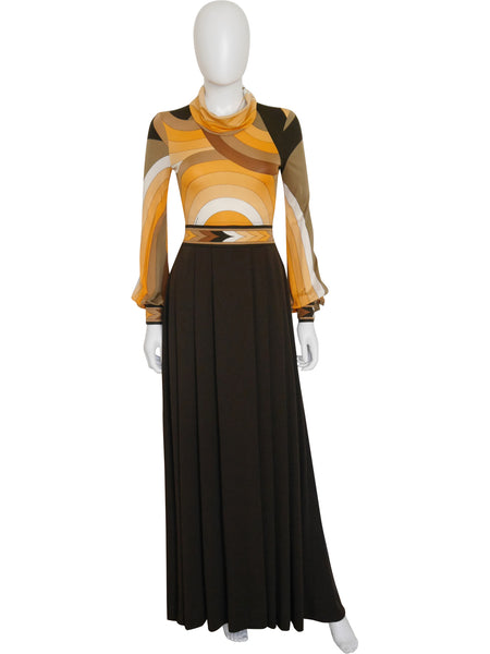 Sold - LEONARD Vintage c. 1973 Documented Evening Silk Dress Size XS