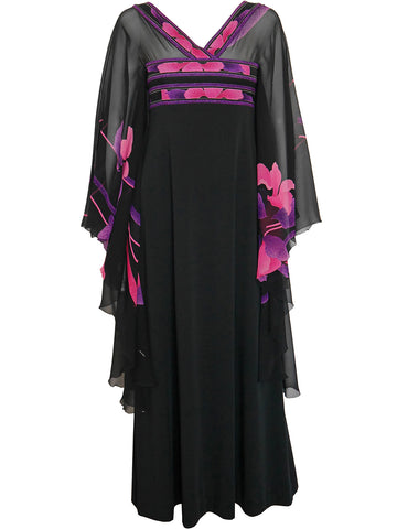 Sold - LEONARD Documented 1970s Vintage Silk Caftan Evening Dress Size XS