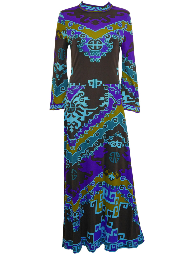 Sold - LEONARD 1970s Vintage Printed Silk Maxi Dress Size M
