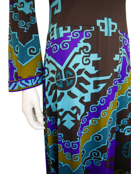 LEONARD 1970s Vintage Printed Silk Maxi Dress Size M