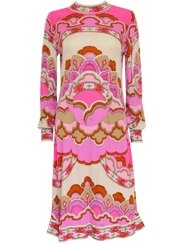 Sold - LEONARD 1970s Vintage Printed Silk Jersey Dress Size M-L