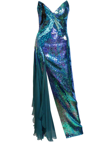 On Hold --- LORIS AZZARO Vintage Fully Sequined Evening Maxi Dress Gown w/ Cape Size S
