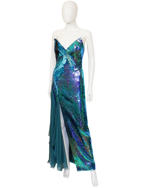 Sold - LORIS AZZARO Vintage Fully Sequined Evening Maxi Dress Gown w/ Cape Size S