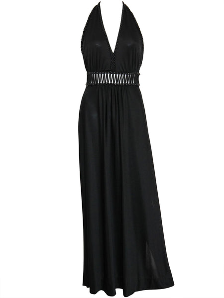 Sold - LORIS AZZARO 1970s Vintage Backless Evening Dress Size S-M