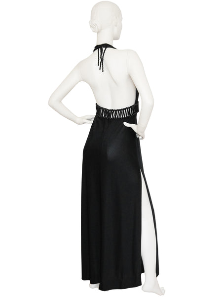 LORIS AZZARO 1970s Vintage Backless Evening Dress Size S-M