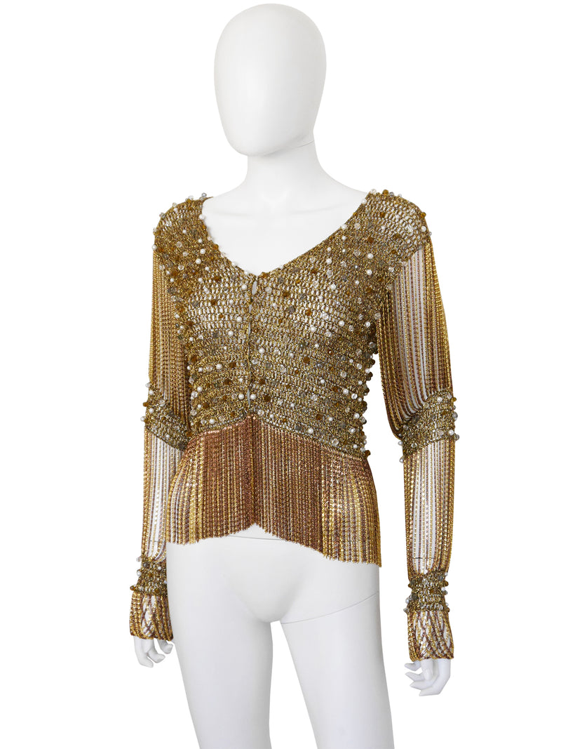 LORIS AZZARO 1970s Vintage Beaded Gold-Tone Crochet & Metal Chainmail Top or Jacket Size S