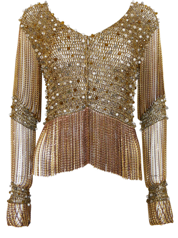 LORIS AZZARO 1970s Vintage Beaded Gold-Tone Crochet & Metal Chainmail Top or Jacket