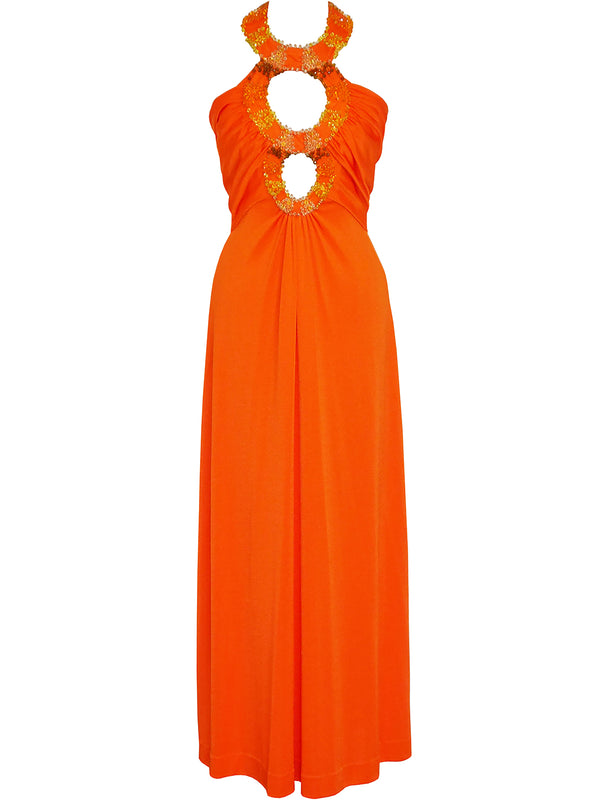 "LORIS AZZARO c. 1972 Vintage ""Three Rings"" Orange Jersey Maxi Evening Dress Size S-M"