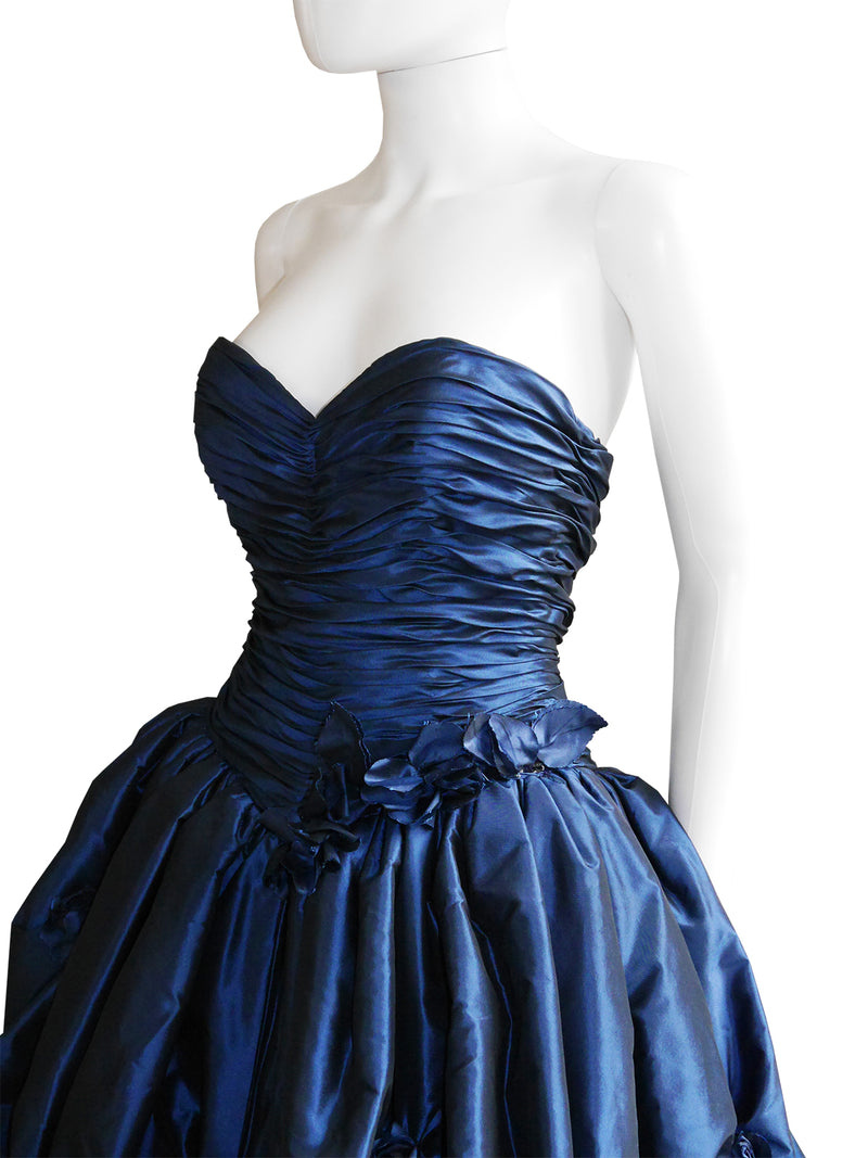 LORIS AZZARO c. 1990s Blue Silk Taffeta Ball Gown w/ Train & Stole Size XS-S