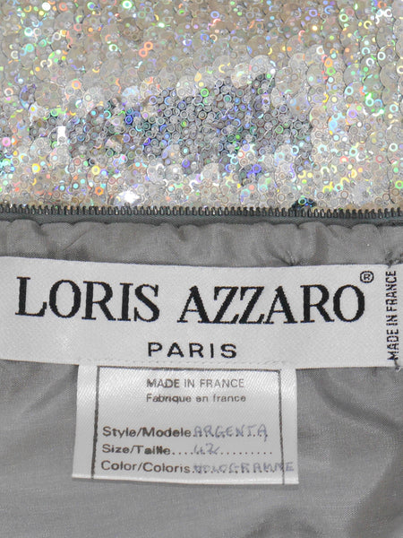 Sold - LORIS AZZARO c. 1996 Iridescent Sequin Evening Gown Size M