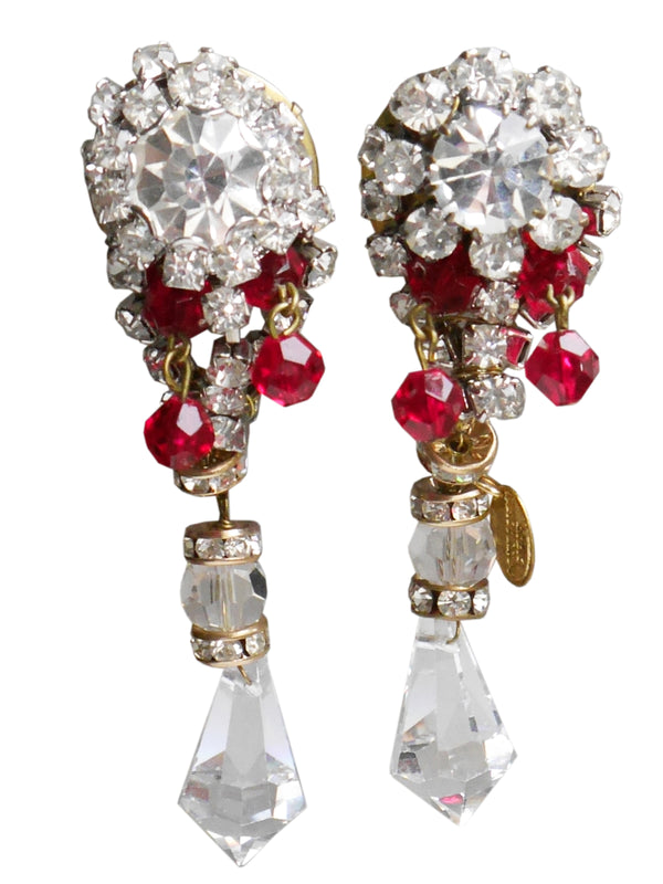 LORIS AZZARO 1970s 1980s Vintage Crystal & Ruby Dangle Drop Clip-On Earrings