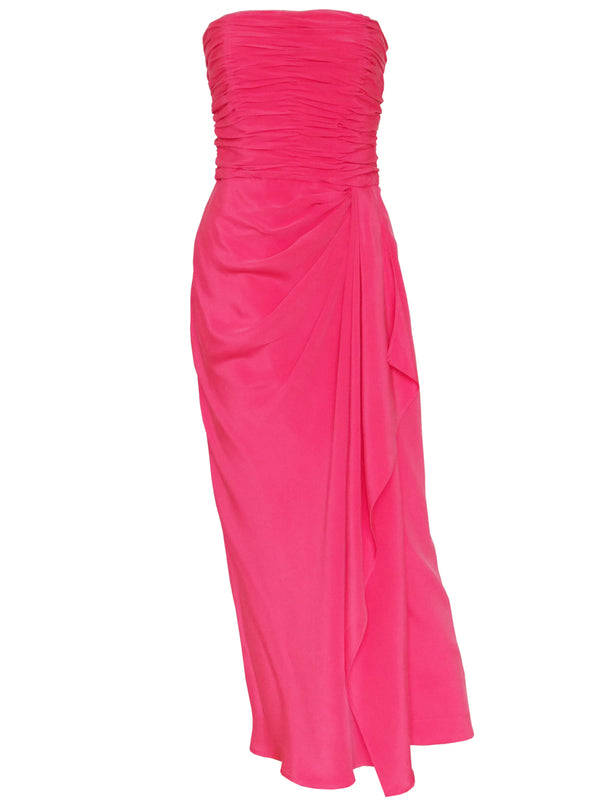 LORIS AZZARO Vintage Draped Maxi Evening Gown Pink Size S