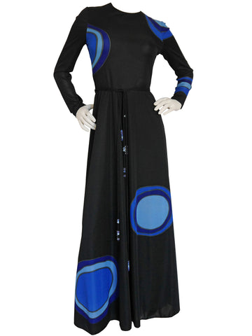 LOUIS FÉRAUD c. 1970 Vintage Graphic Printed Maxi Dress w/ Belt Size S