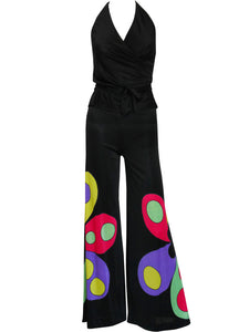 LOUIS FÉRAUD c. 1969 Vintage Space Age Flared Pants & Neckholder Top Set Size XS-S