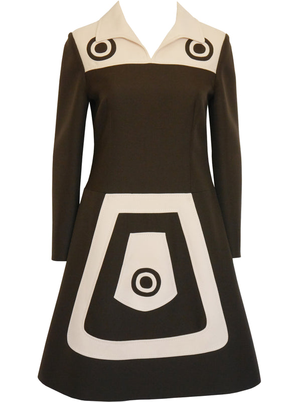 LOUIS FÉRAUD 1960s Vintage Space Age Mod Graphic Dress