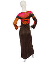 Sold - LOUIS FÉRAUD 1960s Vintage Graphic Printed Maxi Dress Size S