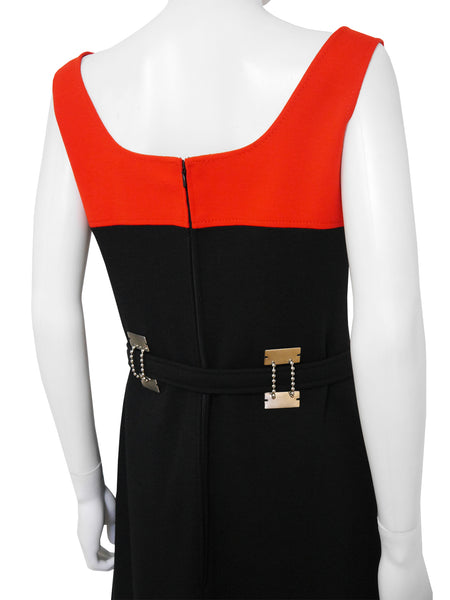 LOUIS FÉRAUD 1960s Vintage Colourblock Mod Dress Size M-L
