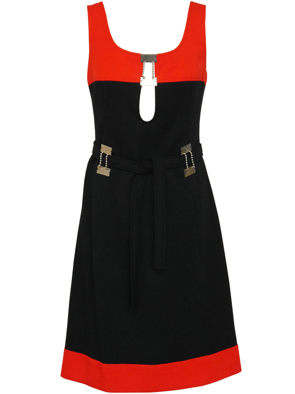 Sold - LOUIS FÉRAUD 1960s Vintage Colourblock Mod Dress Size M-L